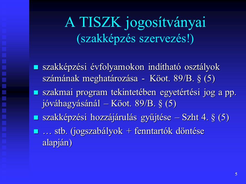 A TISZK jogosítványai (szakképzés szervezés!)