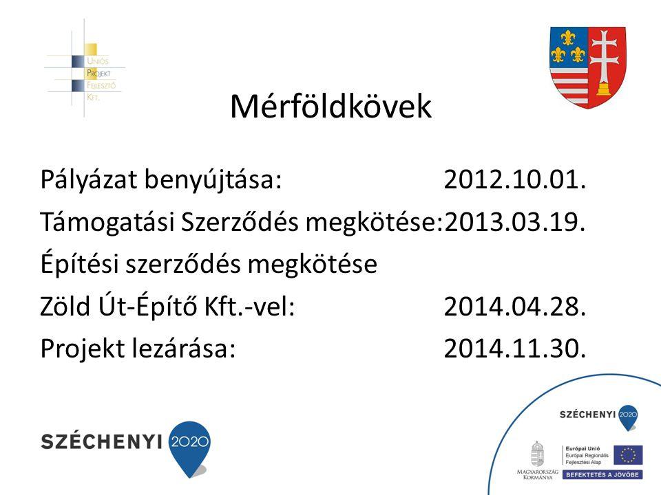 Mérföldkövek Pályázat benyújtása: 2012.10.01.