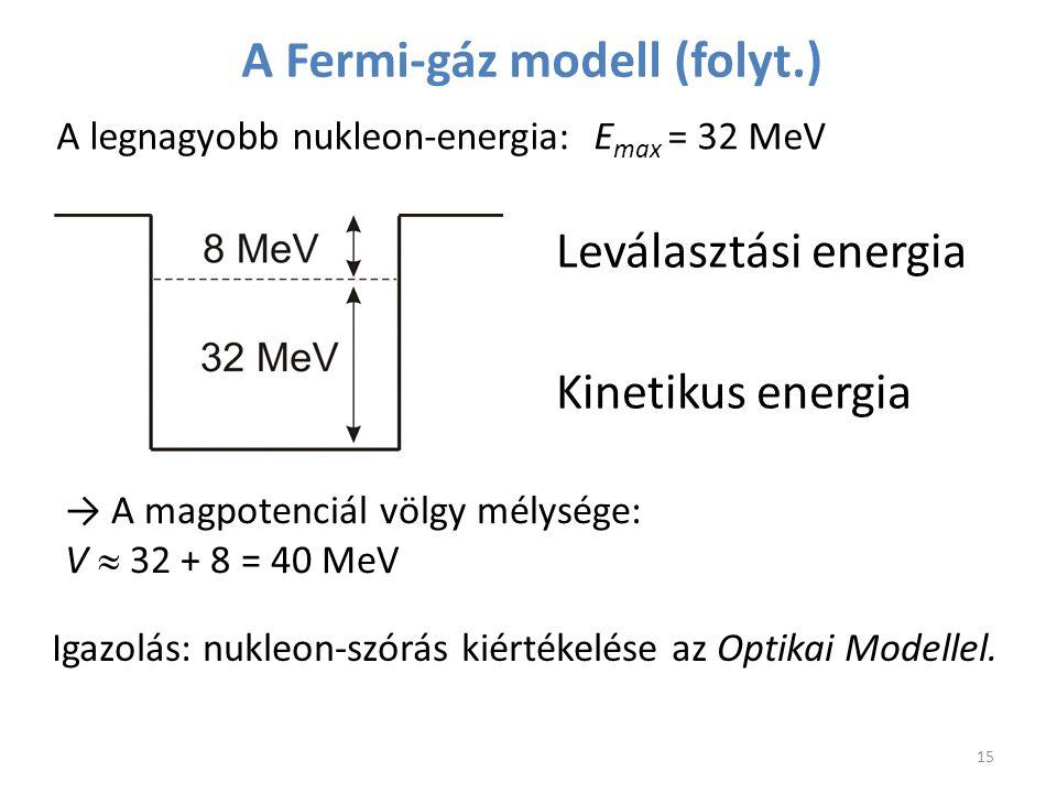→ A magpotenciál völgy mélysége: V  32 + 8 = 40 MeV