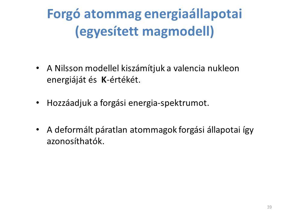 Forgó atommag energiaállapotai (egyesített magmodell)
