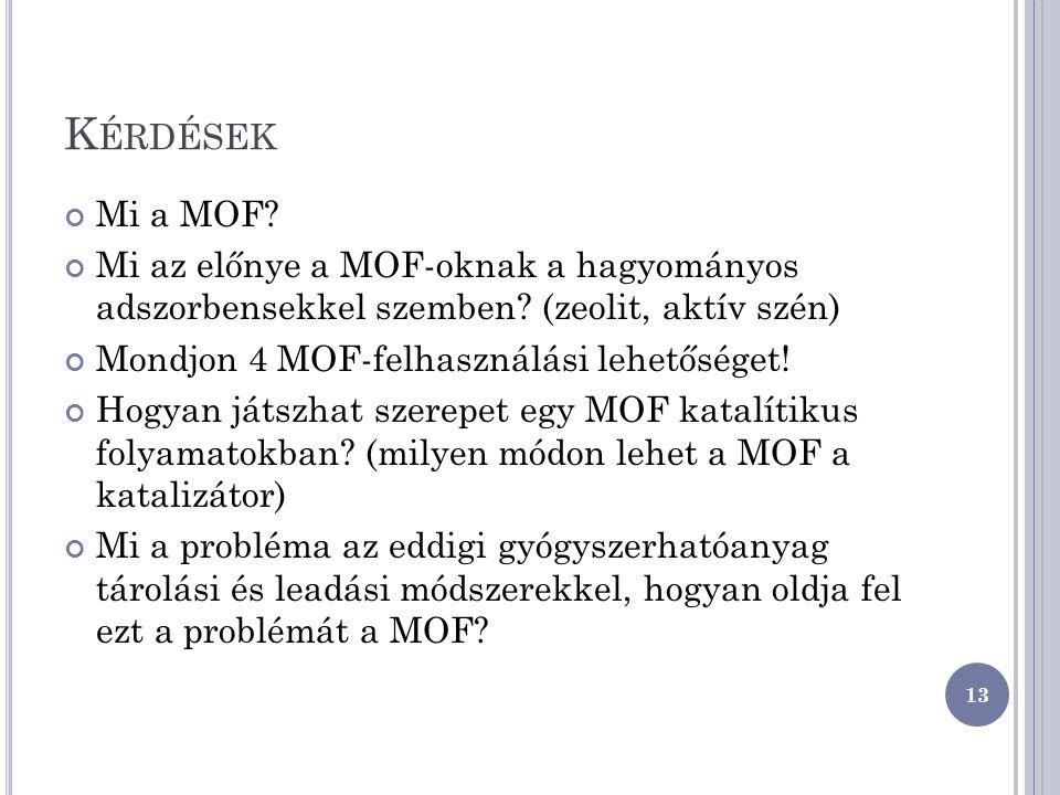 Kérdések Mi a MOF Mi az előnye a MOF-oknak a hagyományos adszorbensekkel szemben (zeolit, aktív szén)