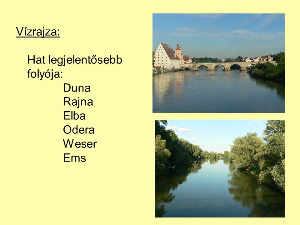 Vízrajza: Hat legjelentősebb folyója: Duna Rajna Elba Odera Weser Ems
