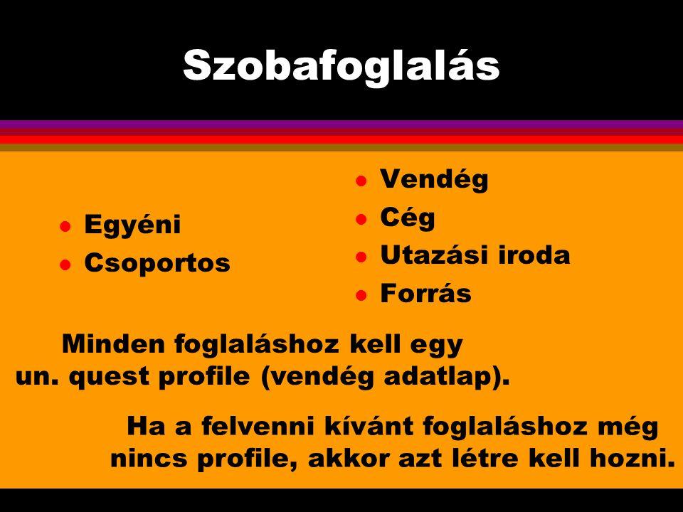 Minden foglaláshoz kell egy un. quest profile (vendég adatlap).
