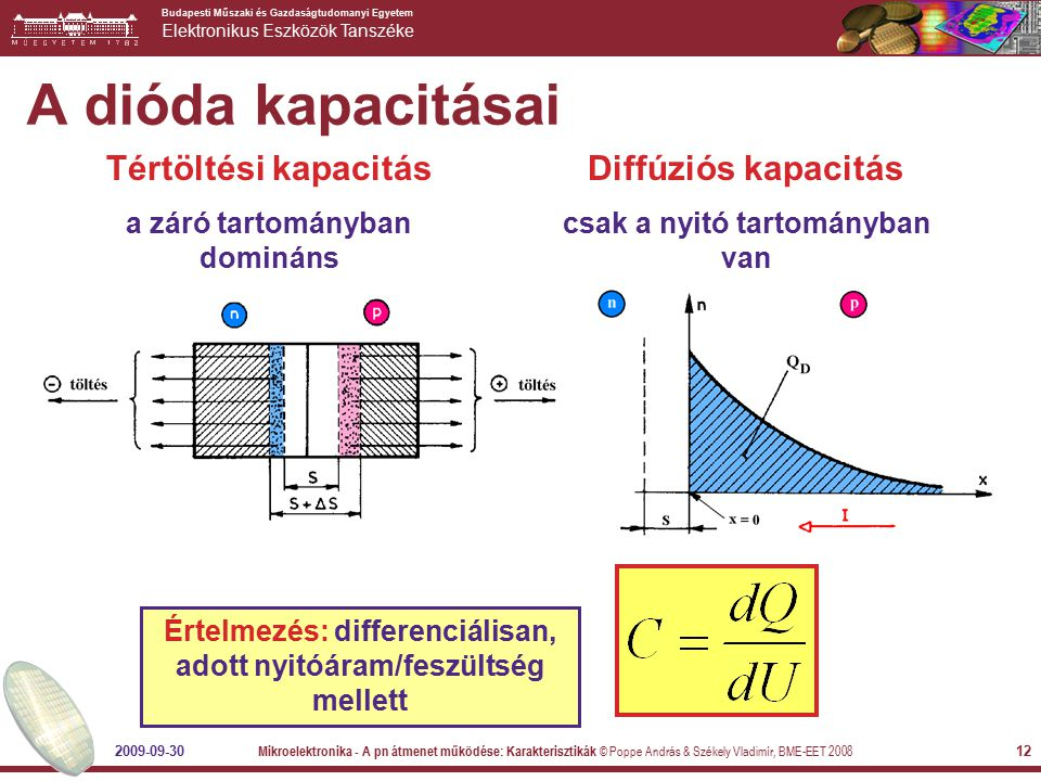 A dióda kapacitásai Tértöltési kapacitás Diffúziós kapacitás
