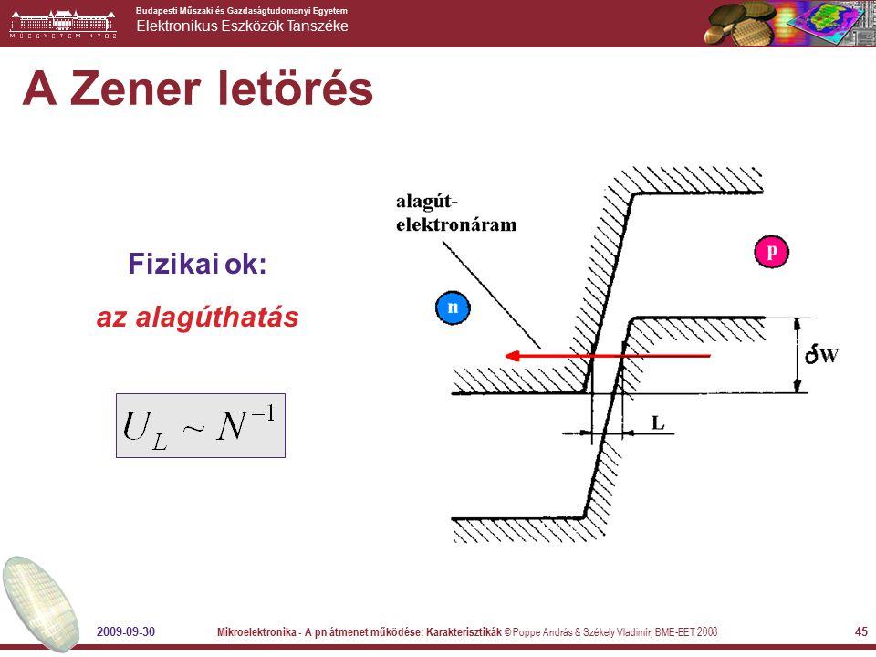 A Zener letörés Fizikai ok: az alagúthatás 2009-09-30