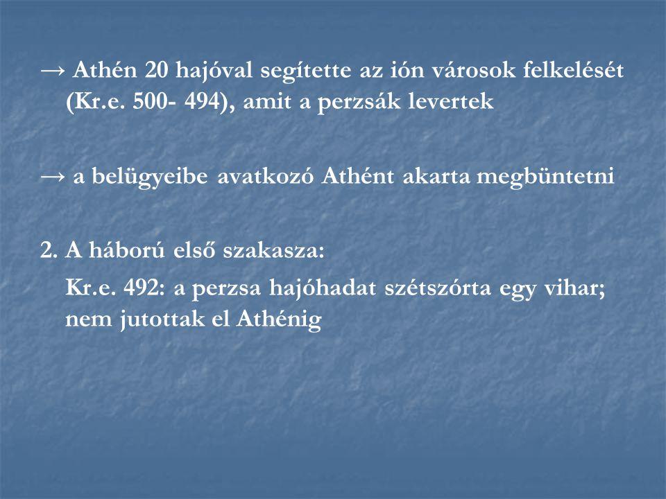 → Athén 20 hajóval segítette az ión városok felkelését (Kr. e