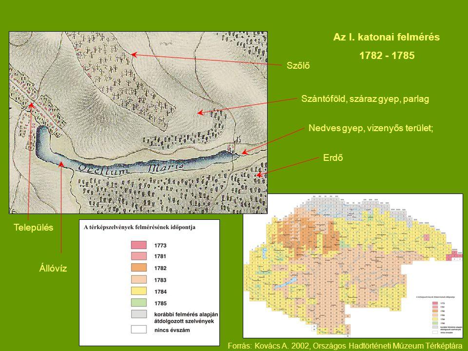 Az I. katonai felmérés 1782 - 1785 Szőlő