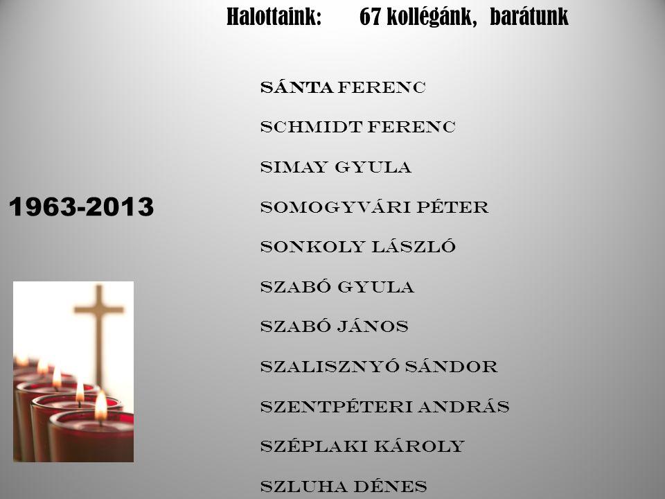 1963-2013 Halottaink: 67 kollégánk, barátunk Sánta Ferenc