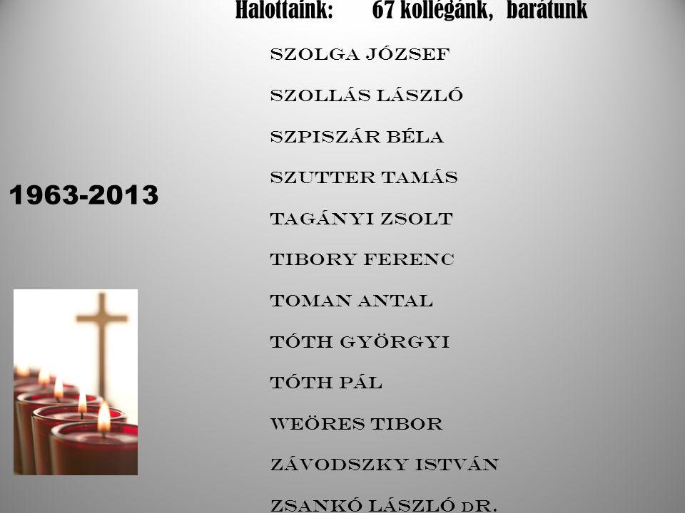 1963-2013 Halottaink: 67 kollégánk, barátunk Szolga József