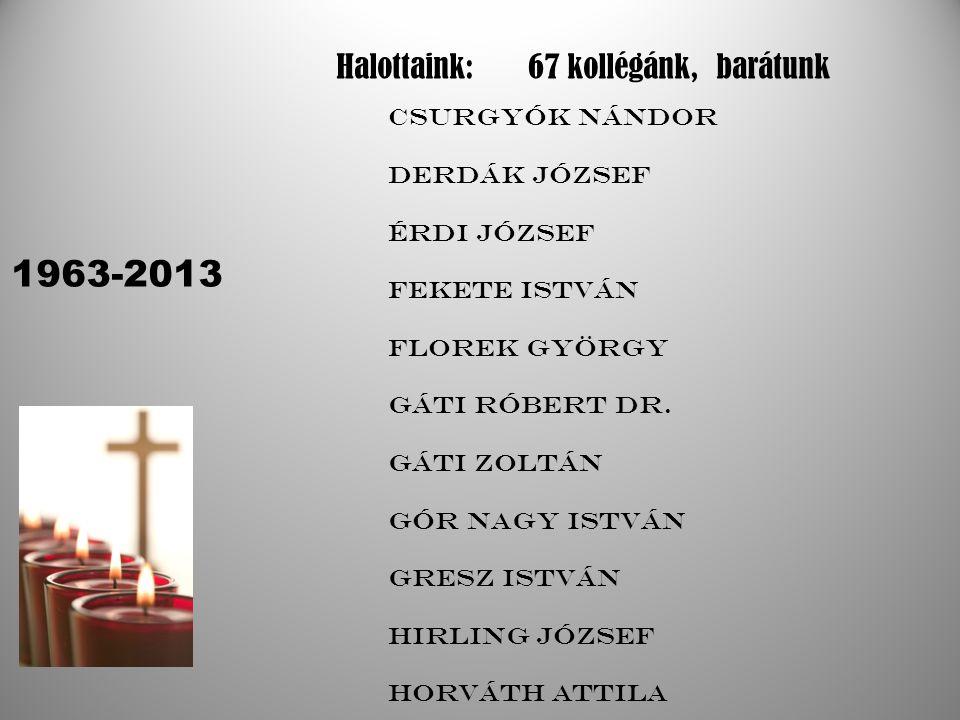 1963-2013 Halottaink: 67 kollégánk, barátunk Csurgyók Nándor