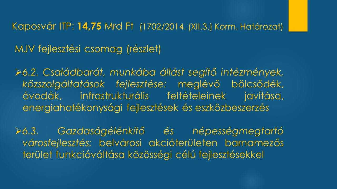Kaposvár ITP: 14,75 Mrd Ft (1702/2014. (XII.3.) Korm. Határozat)