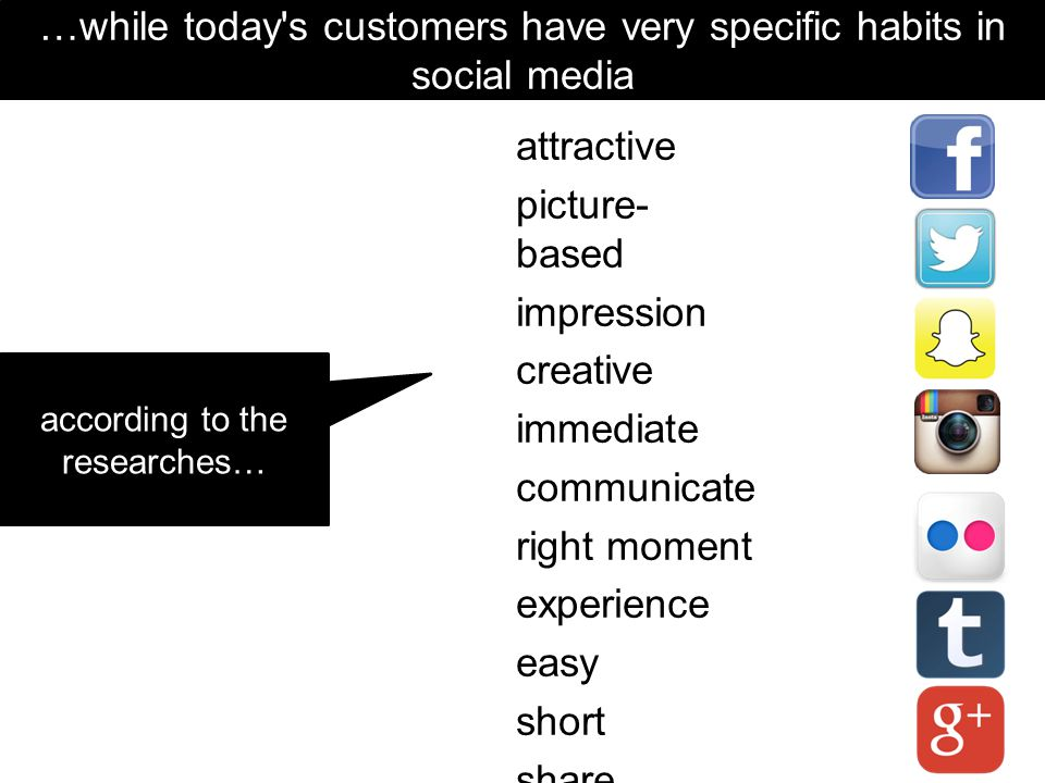 …while today s customers have very specific habits in social media