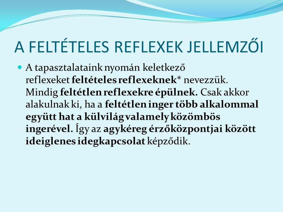 A FELTÉTELES REFLEXEK JELLEMZŐI