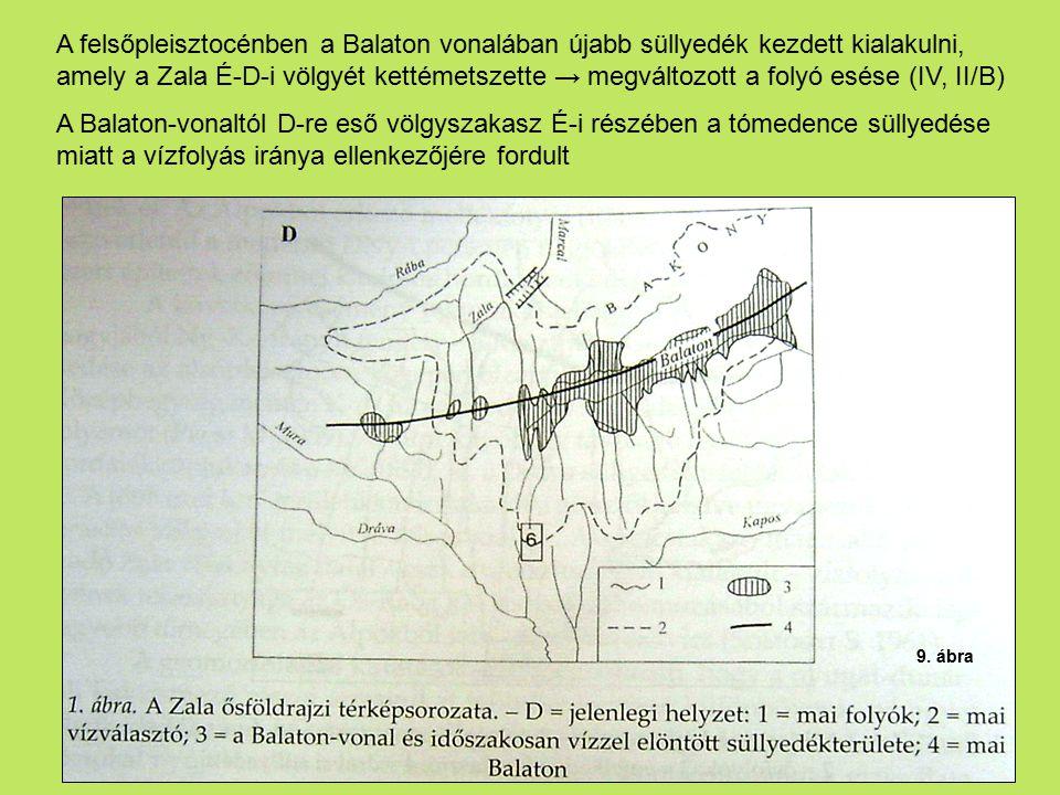 A felsőpleisztocénben a Balaton vonalában újabb süllyedék kezdett kialakulni, amely a Zala É-D-i völgyét kettémetszette → megváltozott a folyó esése (IV, II/B)