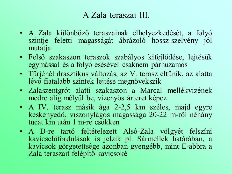 A Zala teraszai III. A Zala különböző teraszainak elhelyezkedését, a folyó szintje feletti magasságát ábrázoló hossz-szelvény jól mutatja.