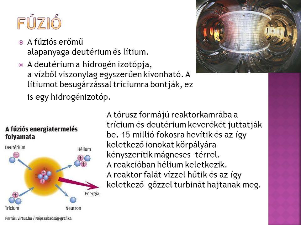 fúzió A fúziós erőmű alapanyaga deutérium és lítium.