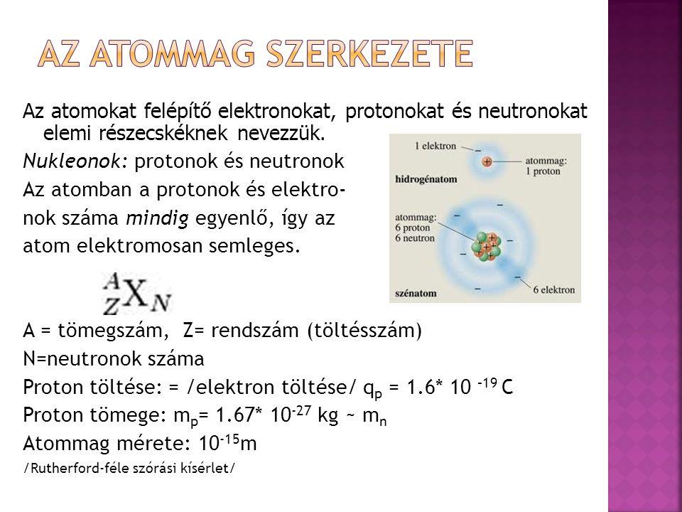 Az atommag szerkezete Az atomokat felépítő elektronokat, protonokat és neutronokat elemi részecskéknek nevezzük.