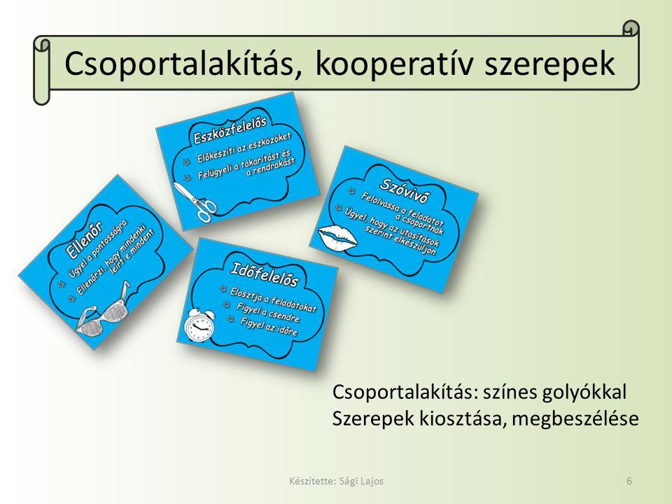 Csoportalakítás, kooperatív szerepek
