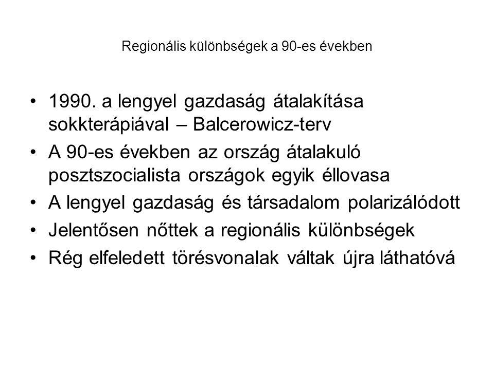 Regionális különbségek a 90-es években
