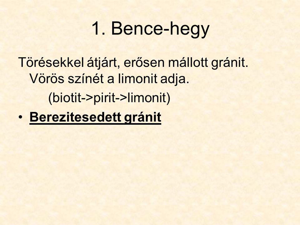 1. Bence-hegy Törésekkel átjárt, erősen mállott gránit. Vörös színét a limonit adja. (biotit->pirit->limonit)