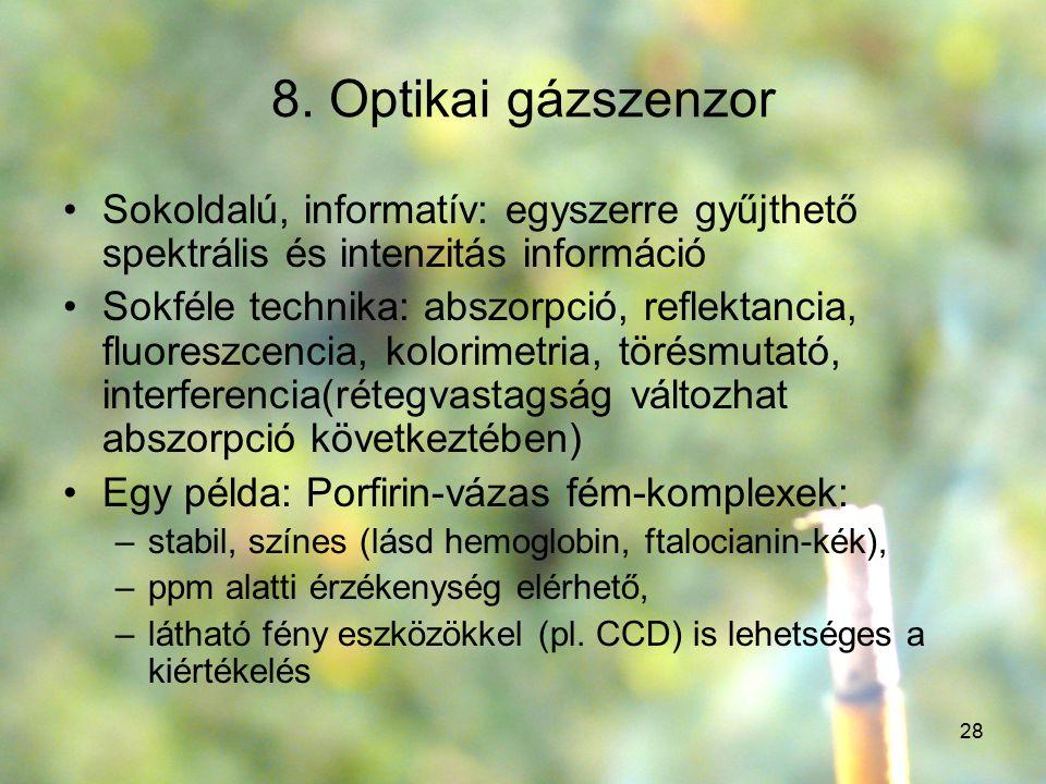 8. Optikai gázszenzor Sokoldalú, informatív: egyszerre gyűjthető spektrális és intenzitás információ.
