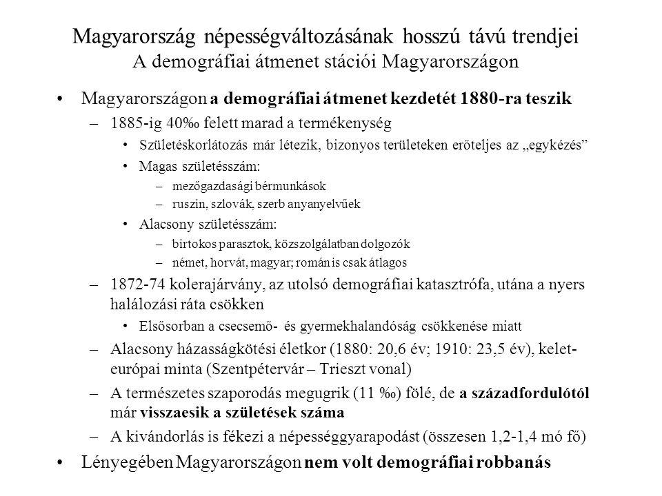 Magyarország népességváltozásának hosszú távú trendjei A demográfiai átmenet stációi Magyarországon