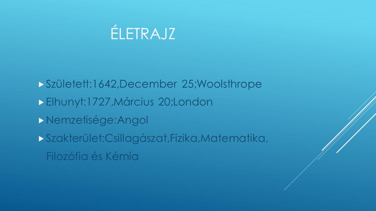Életrajz Született:1642,December 25;Woolsthrope