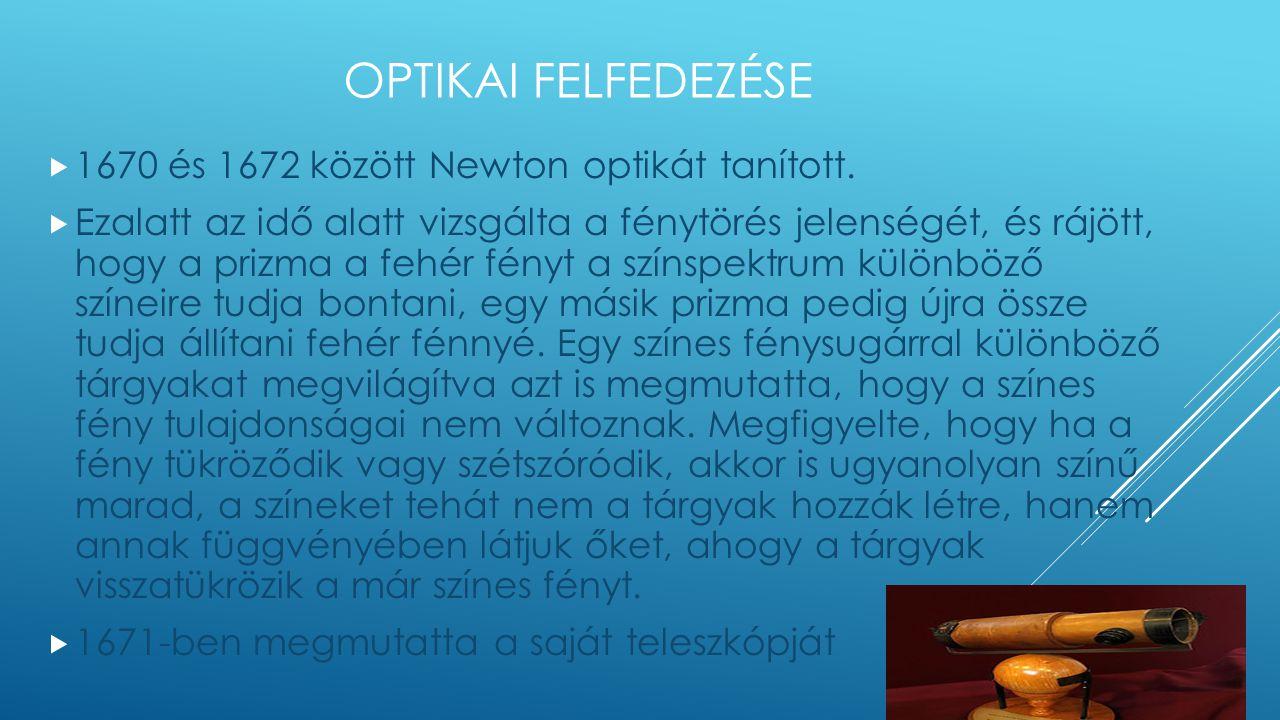 Optikai felfedezése 1670 és 1672 között Newton optikát tanított.