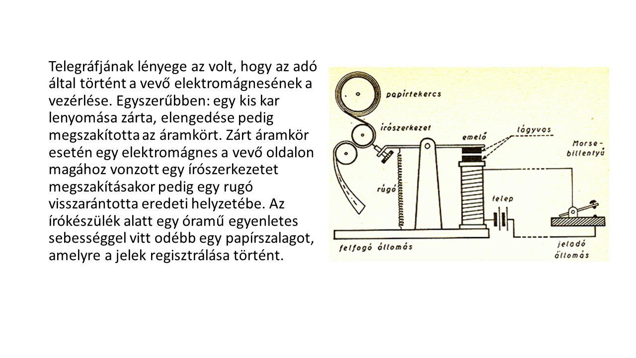 Telegráfjának lényege az volt, hogy az adó által történt a vevő elektromágnesének a vezérlése.