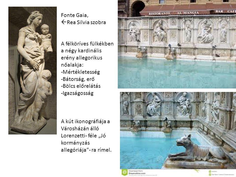 Fonte Gaia, Rea Silvia szobra. A félköríves fülkékben a négy kardinális erény allegorikus nőalakja: