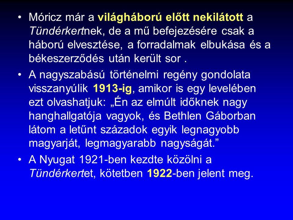 Móricz már a világháború előtt nekilátott a Tündérkertnek, de a mű befejezésére csak a háború elvesztése, a forradalmak elbukása és a békeszerződés után került sor .