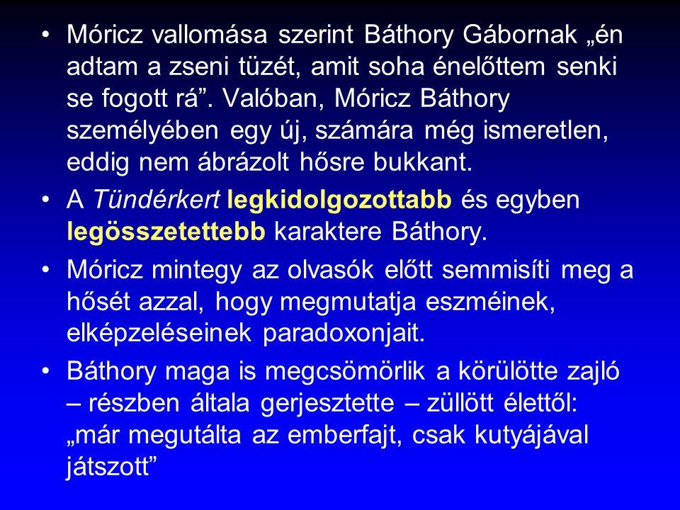 """Móricz vallomása szerint Báthory Gábornak """"én adtam a zseni tüzét, amit soha énelőttem senki se fogott rá . Valóban, Móricz Báthory személyében egy új, számára még ismeretlen, eddig nem ábrázolt hősre bukkant."""