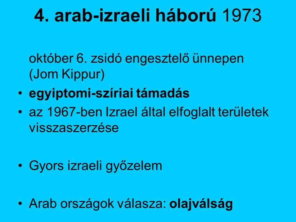 4. arab-izraeli háború 1973 október 6. zsidó engesztelő ünnepen (Jom Kippur) egyiptomi-szíriai támadás.