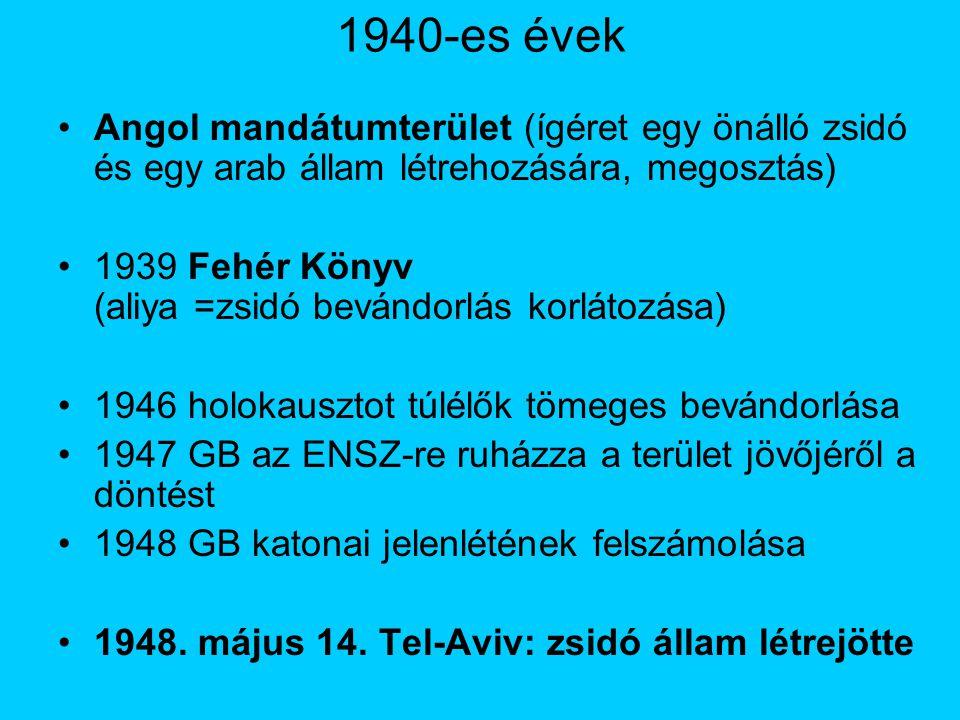 1940-es évek Angol mandátumterület (ígéret egy önálló zsidó és egy arab állam létrehozására, megosztás)