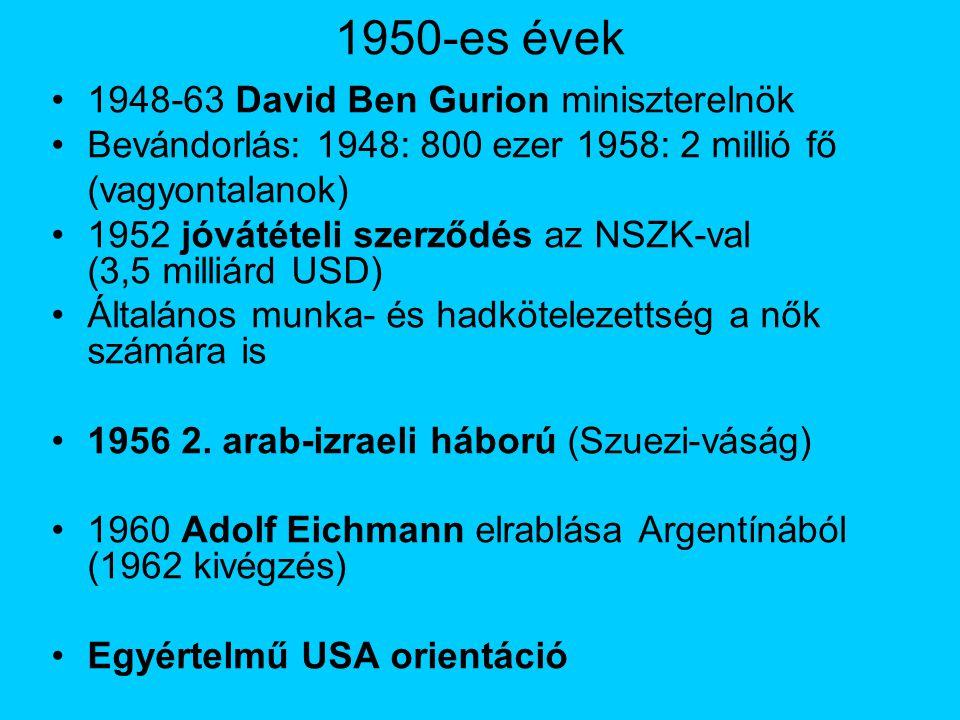 1950-es évek 1948-63 David Ben Gurion miniszterelnök