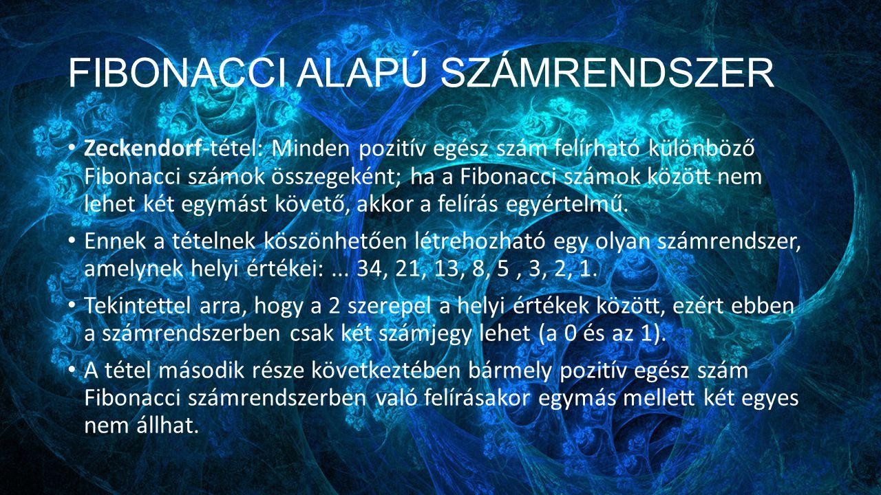 FIBONACCI ALAPÚ SZÁMRENDSZER