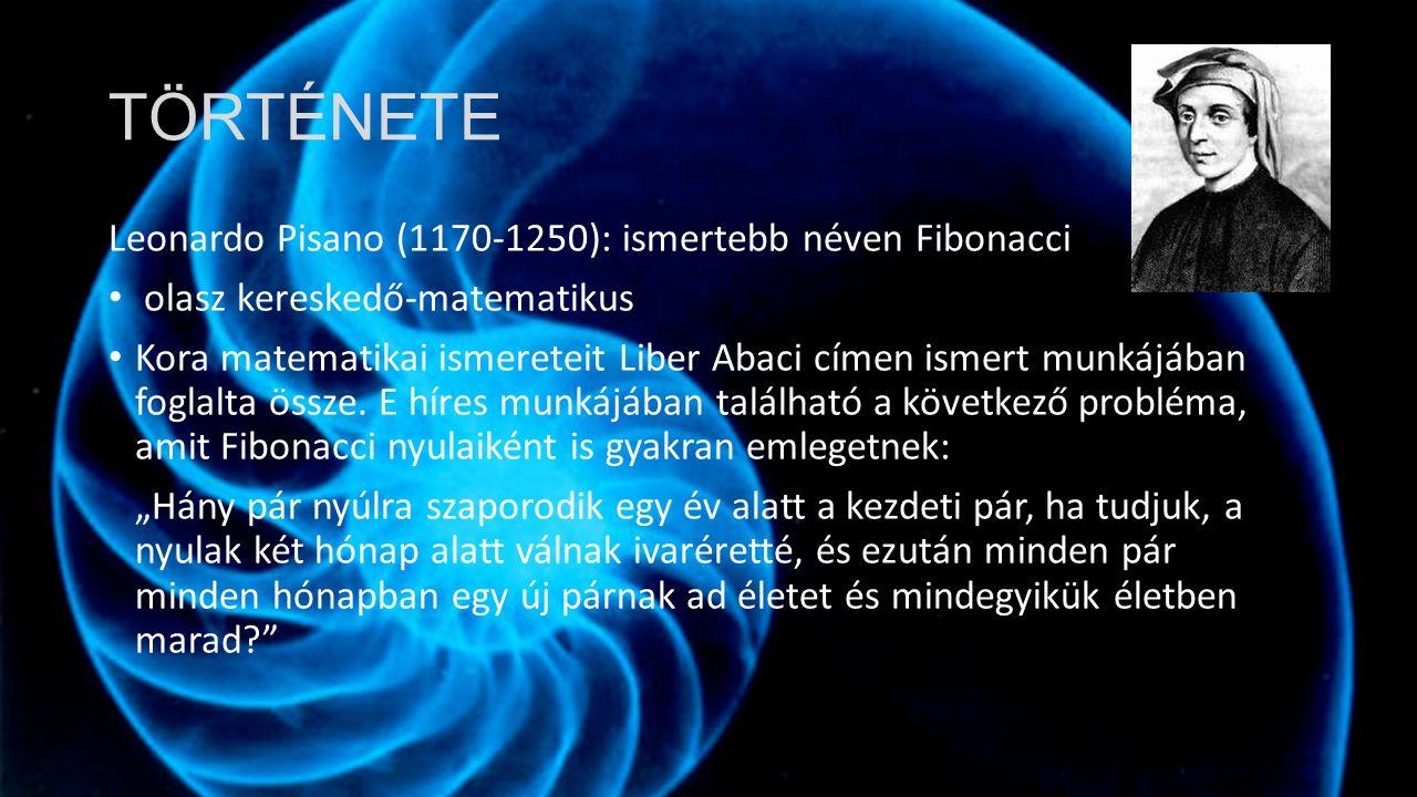 TÖRTÉNETE Leonardo Pisano (1170-1250): ismertebb néven Fibonacci