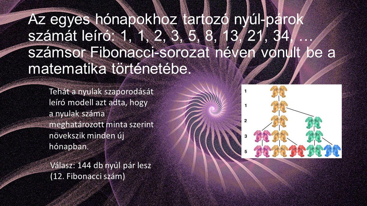 Az egyes hónapokhoz tartozó nyúl-párok számát leíró: 1, 1, 2, 3, 5, 8, 13, 21, 34, … számsor Fibonacci-sorozat néven vonult be a matematika történetébe.