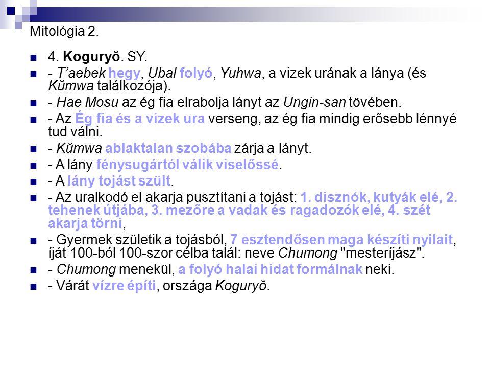 Mitológia 2. 4. Koguryŏ. SY. - T'aebek hegy, Ubal folyó, Yuhwa, a vizek urának a lánya (és Kŭmwa találkozója).