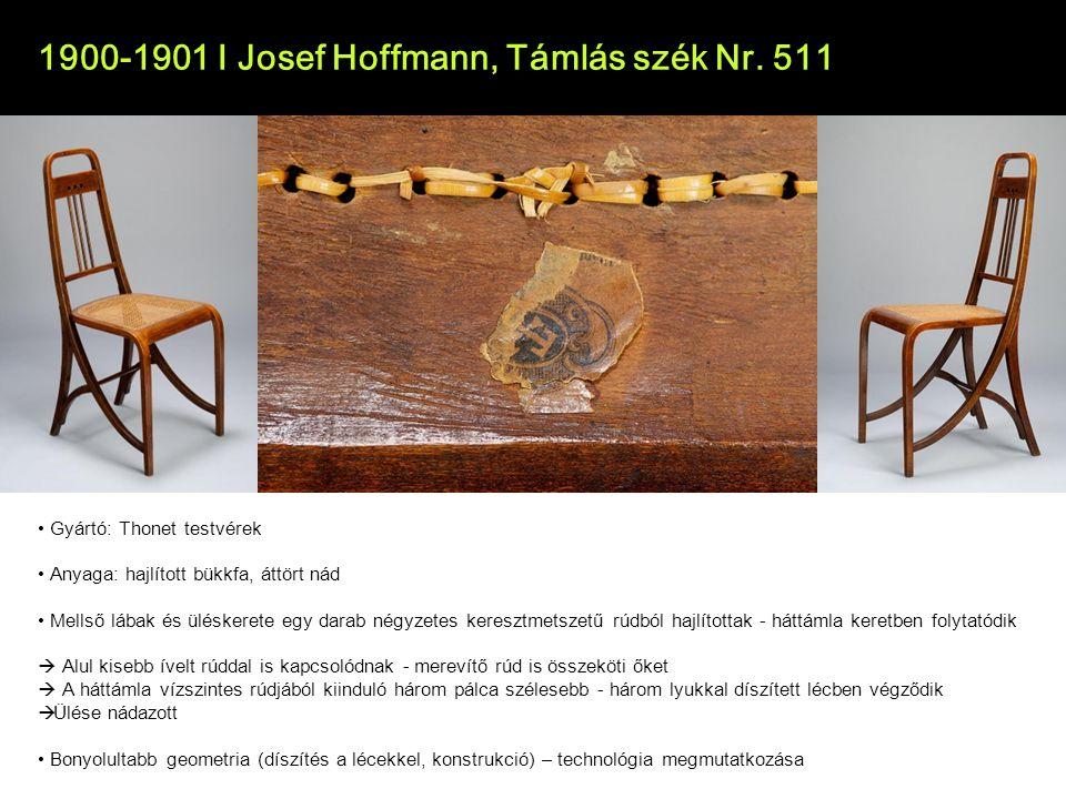1900-1901 I Josef Hoffmann, Támlás szék Nr. 511