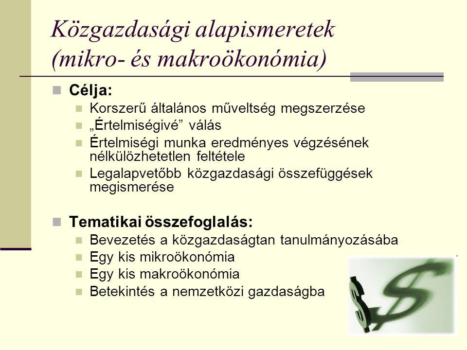 Közgazdasági alapismeretek (mikro- és makroökonómia)