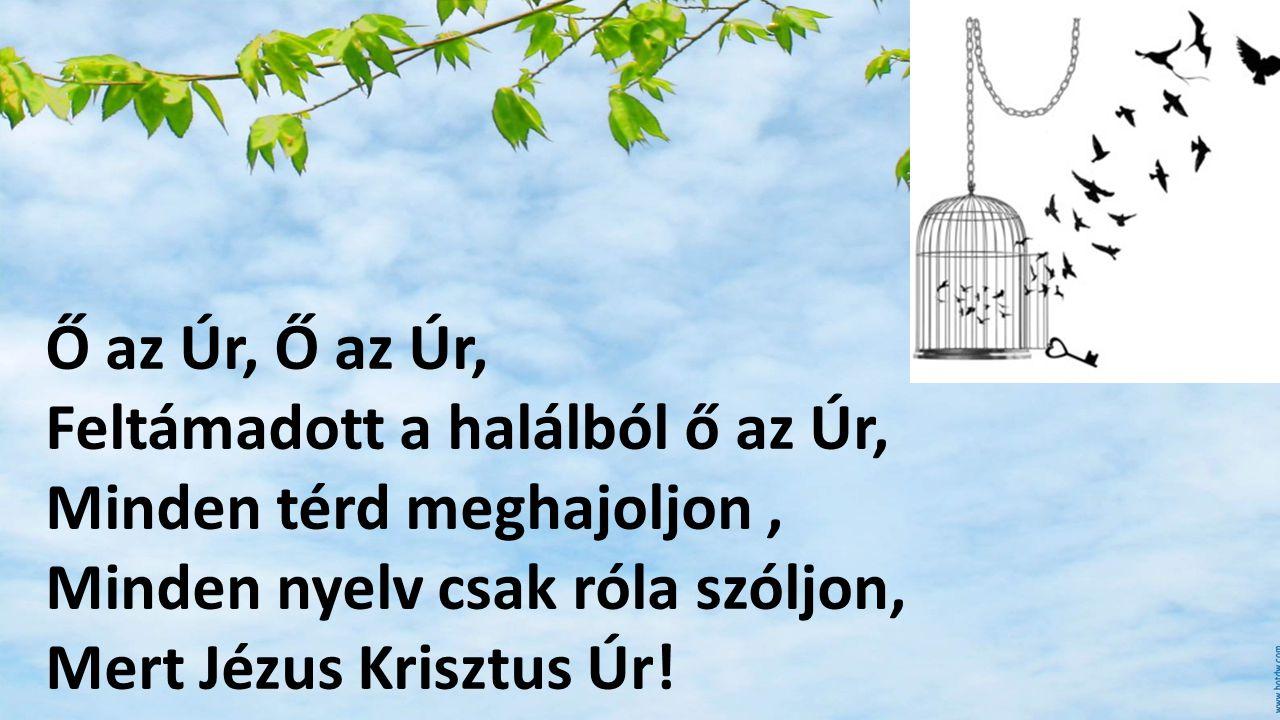 Ő az Úr, Ő az Úr, Feltámadott a halálból ő az Úr, Minden térd meghajoljon , Minden nyelv csak róla szóljon,