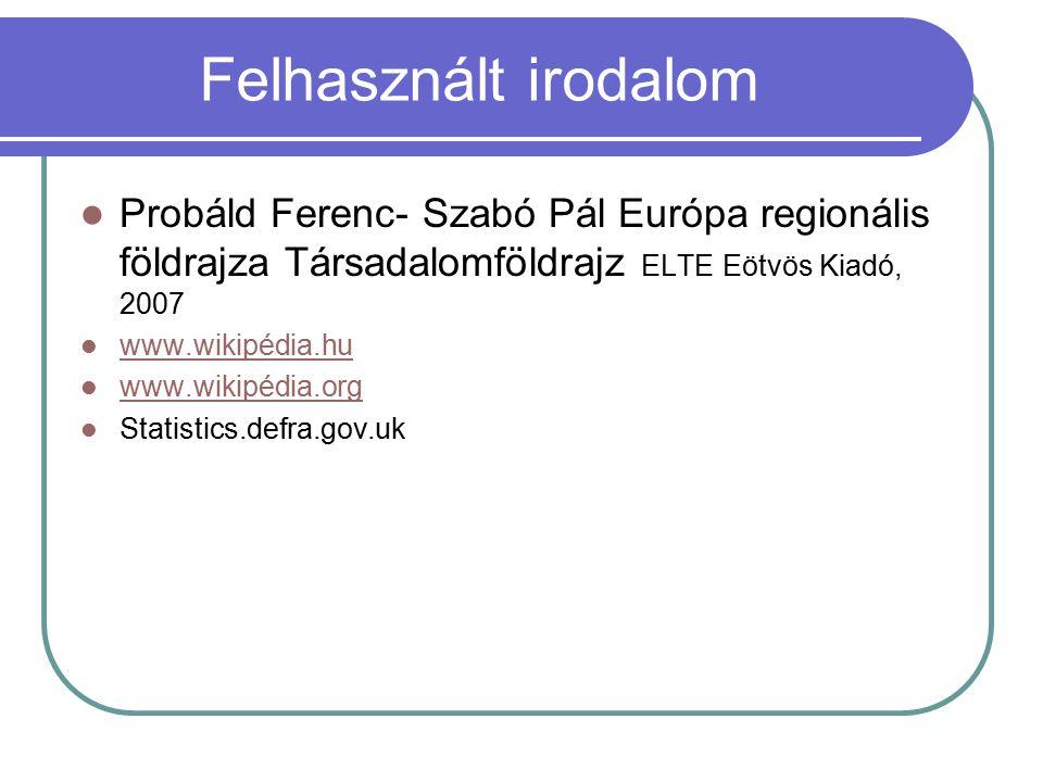 Felhasznált irodalom Probáld Ferenc- Szabó Pál Európa regionális földrajza Társadalomföldrajz ELTE Eötvös Kiadó, 2007.