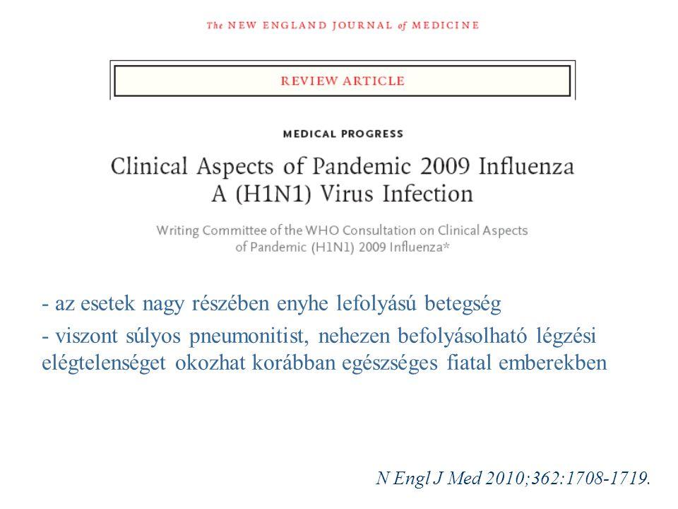 - az esetek nagy részében enyhe lefolyású betegség