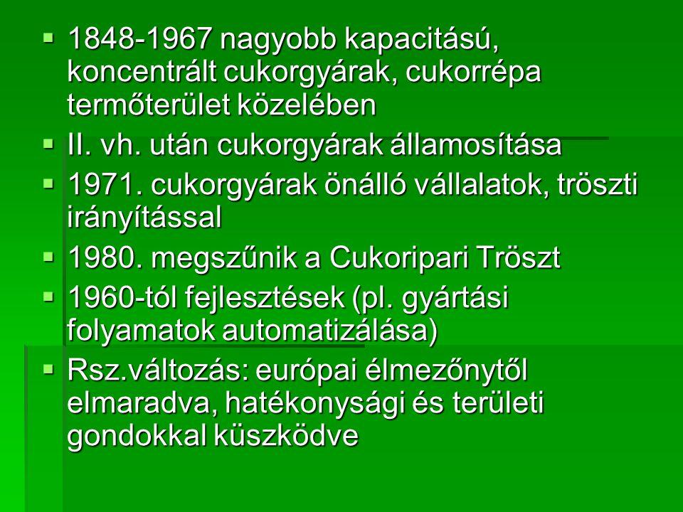 1848-1967 nagyobb kapacitású, koncentrált cukorgyárak, cukorrépa termőterület közelében