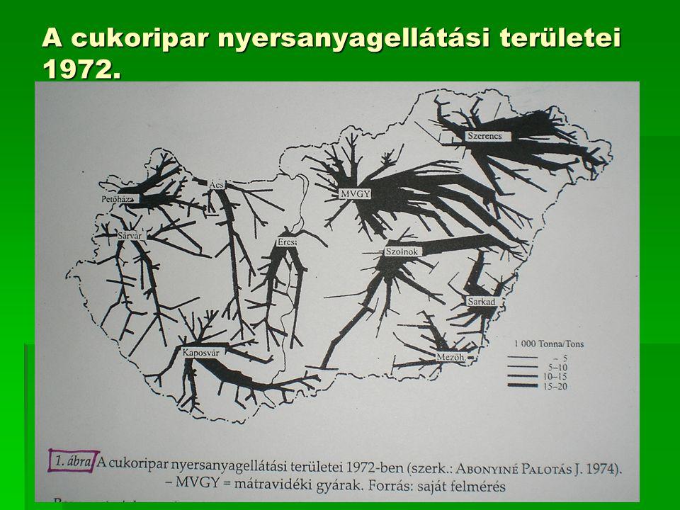 A cukoripar nyersanyagellátási területei 1972.