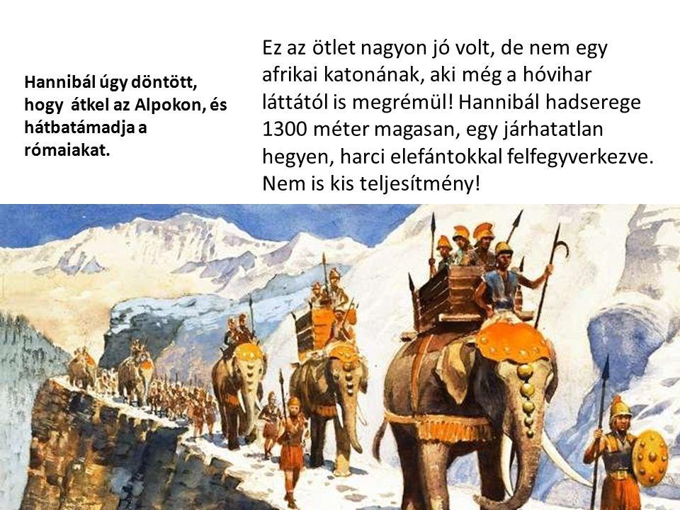 Ez az ötlet nagyon jó volt, de nem egy afrikai katonának, aki még a hóvihar láttától is megrémül! Hannibál hadserege 1300 méter magasan, egy járhatatlan hegyen, harci elefántokkal felfegyverkezve. Nem is kis teljesítmény!