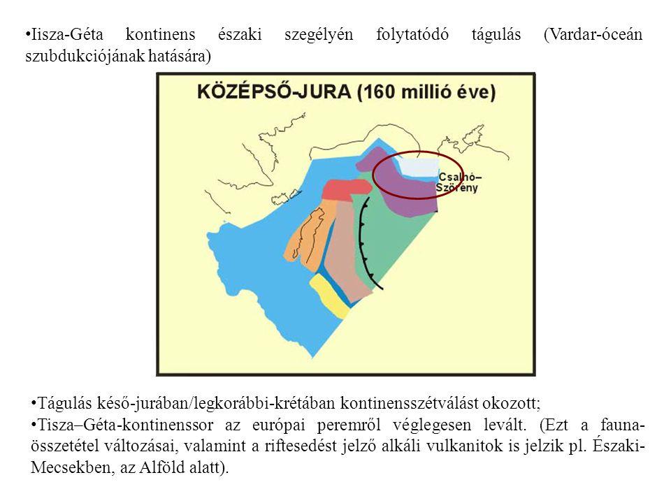 Iisza-Géta kontinens északi szegélyén folytatódó tágulás (Vardar-óceán szubdukciójának hatására)