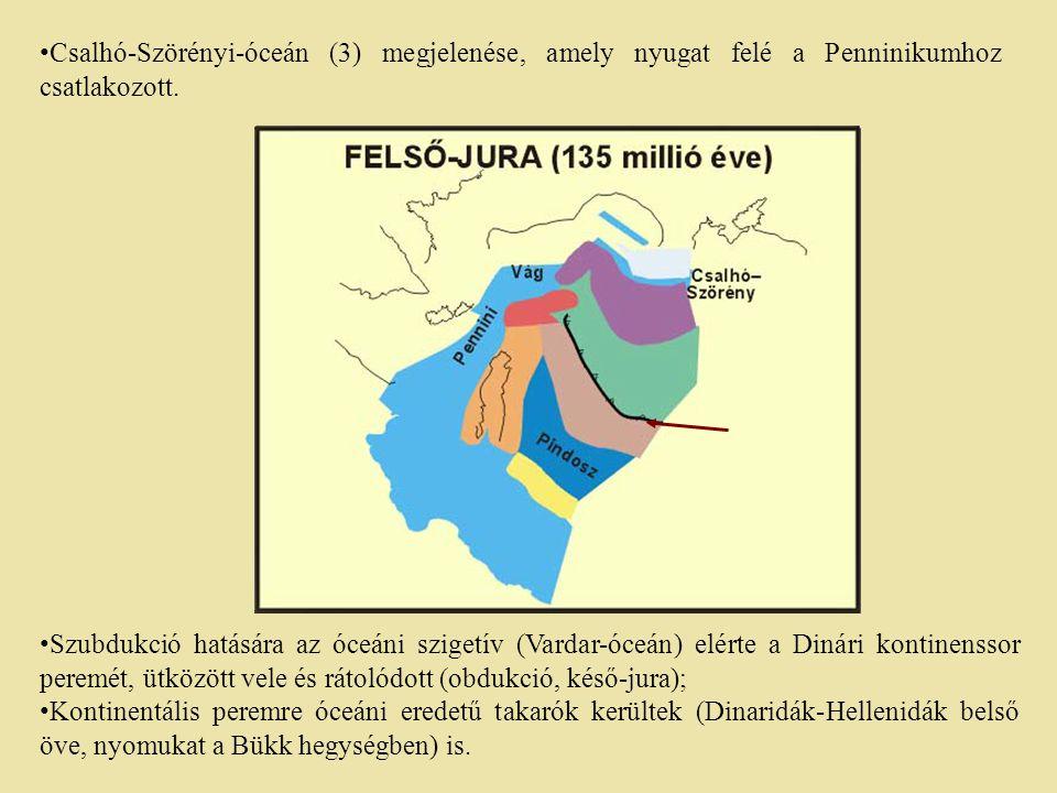 Csalhó-Szörényi-óceán (3) megjelenése, amely nyugat felé a Penninikumhoz csatlakozott.