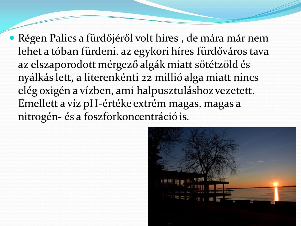 Régen Palics a fürdőjéről volt híres , de mára már nem lehet a tóban fürdeni.